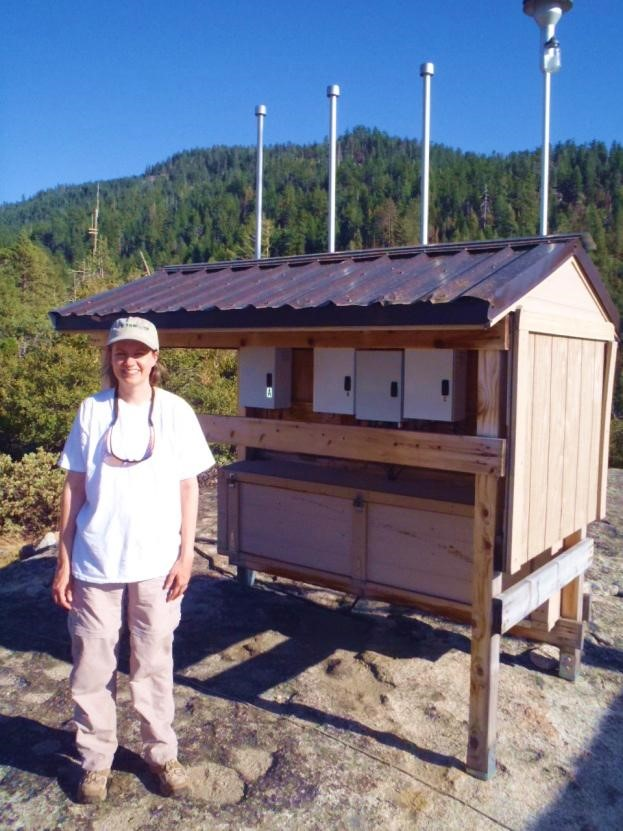 Image: Ann Dillner standing next to a monitoring station at a sandy beach.