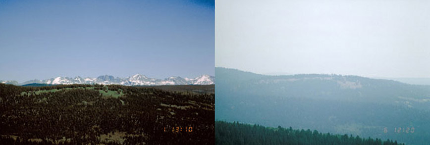 Image: left photo showing a clear view, versus right photo that shows haze at Bridger Wilderness, Wyoming.