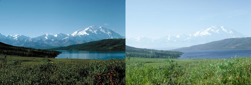 Image: left photo of clear air quality next to right photo of hazy air quality at Denali National Park.