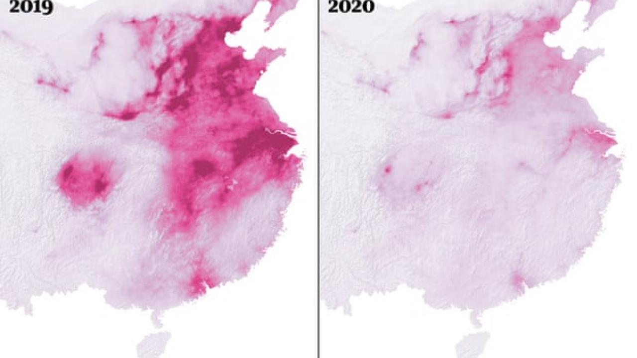 Pollution levels in China in 2019, left, and 2020. Photograph: Guardian Visuals / ESA satellite data