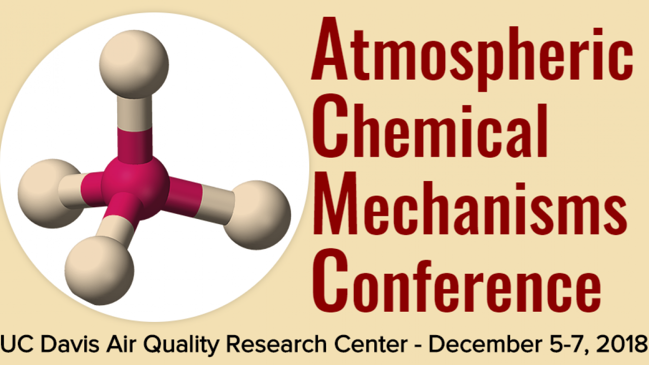 Image: poster for Atmospheric Chemical Mechanisms Conference, featuring a molecule against a yellow background.