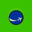 Image: a logo of a blue circle with an airplane over a green background.