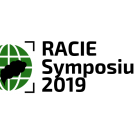 "Image: a logo with a green globe and blacked out smoke plume with text, ""RACIE Symposium 2019""."